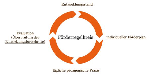 Der Förderregelkreis besteht aus: Entwicklungsstand, individueller Förderplan, tägliche pädagogische Praxis, Evaluation (Überprüfung der Entwicklungsfortschritte)