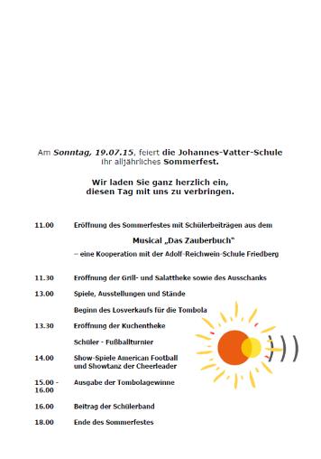 Sommerfest 2015 Einladung