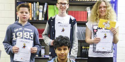 Die Sieger des Vorlesewettbewerbs 2016 der Johannes-Vatter-Schule