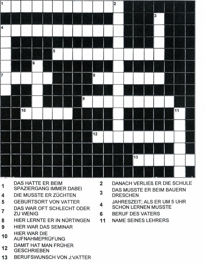 Was weißt Du über Johannes Vatter? Löse das Kreuzworträtsel