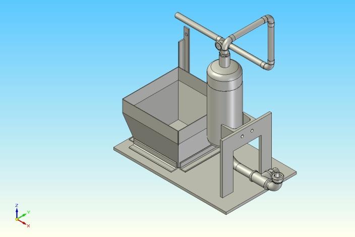 Modellierung einer Überdruckvorrichtung: Montage der Einzelteile zu einer Baugruppe mit einem CAD-System (Konstruktion noch nicht abgeschlossen)