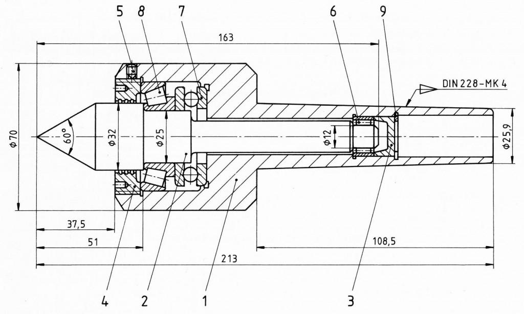 Beispiel einer Baugruppe: mitlaufende Körnerspitze (Technische Zeichnung)