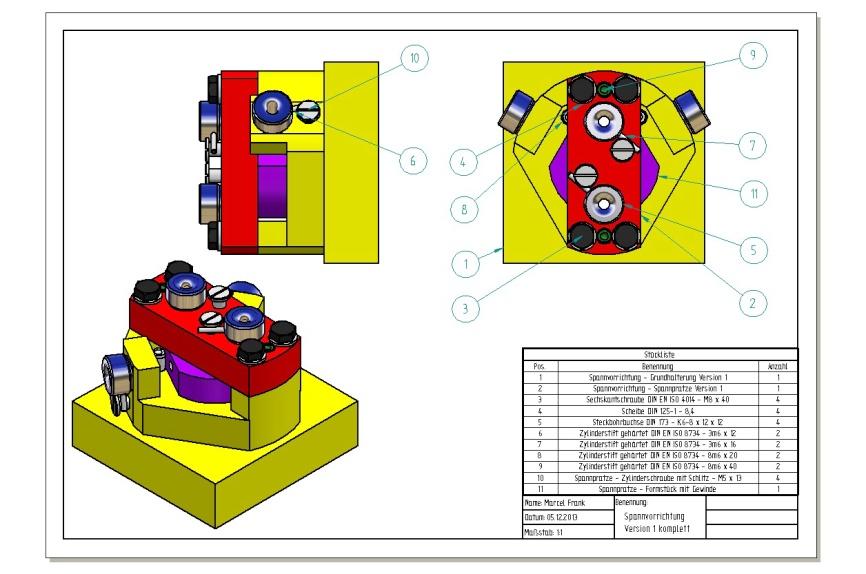 Montageplan mit Stückliste: Spannvorrichtung Version 1