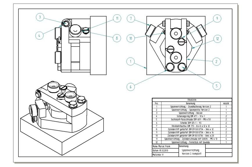 Baugruppenzeichnung inklusive Stückliste für Spannvorrichtung Version 2