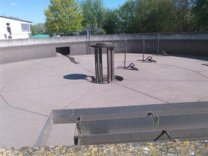Das Zwischenspeicherbecken: Hier wird das Wasser gesammelt, wenn es stark regnet, ...